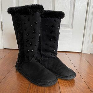 Justice Black Faux Fur Trim Studded Boots